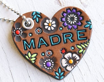 MADRE Leather Heart Key Fob - Floral Pattern Keychain - Mother's Day - hand painted and stamped - Mesa Dreams - Custom Gift