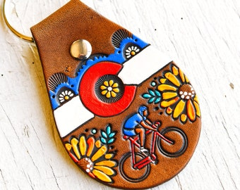 Colorado Cycling Leather key ring - Colorado Flag and Biking Cyclist - hand painted - key fob - keychain gift