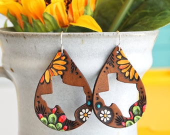 Texas Sunflower and Cactus Leather Earrings - State of Texas teardrop jewelry - Made to Order - lightweight style