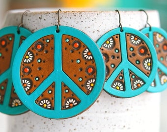 Turquoise Peace and Daisy Earrings