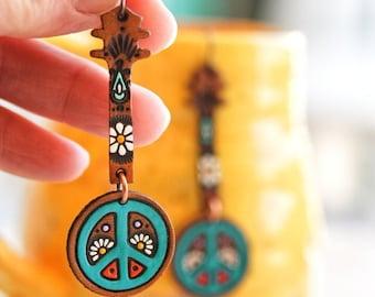 Peace Banjo Leather Earrings