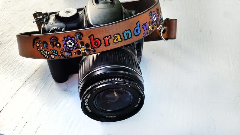 Custom Leather Camera Strap Personalized Handmade /& Handpainted by Mesa Dreams Day of the Dead Dia De Los Muertos Sugar Skull