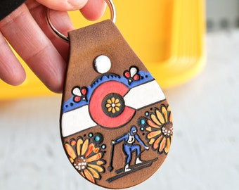 Colorado Skiing Leather key ring - Colorado Flag Ski hand painted and hand stamped - key fob - keychain gift