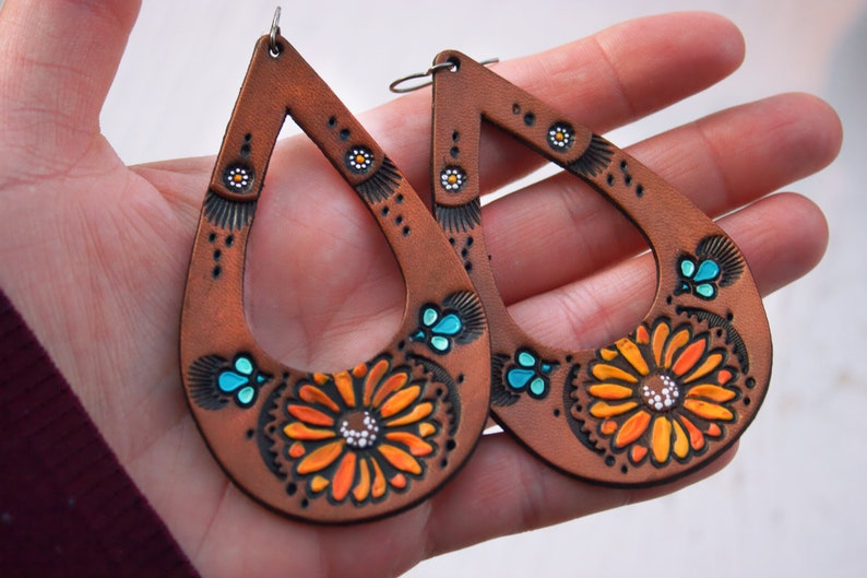 lightweight style Teardrop Sunflower and Daisy Leather Earrings Bohemian jewelry Pick Your Size Made to Order
