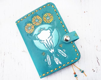 Leather Passport Cover - Turquoise Dreamcatcher - Steer skull and sunflowers - Day of the Dead Southwestern Feathers - Made to Order