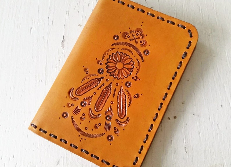 f6d14a530 Sale Leather Passport Cover Sunflower Dreamcatcher
