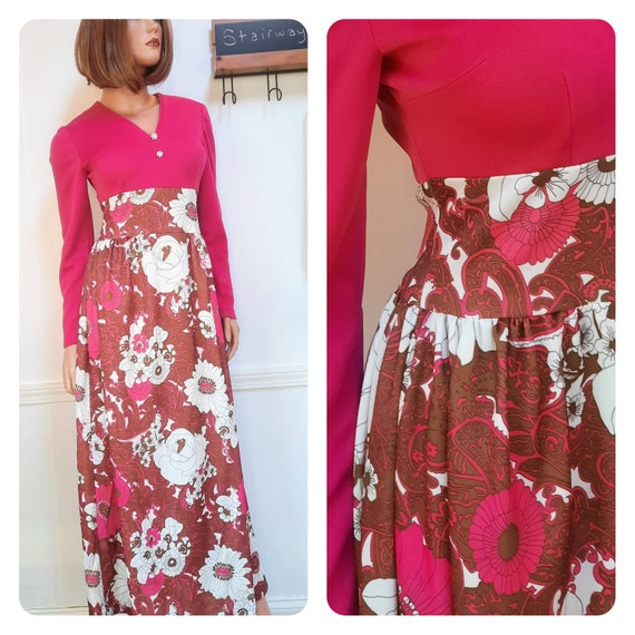1970s floral maxi dress / vintage hot pink hostess