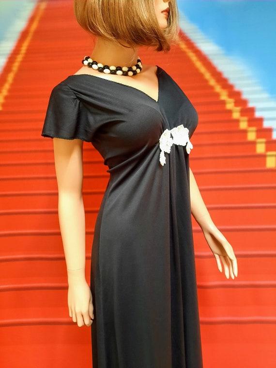 1970s vintage black polyester disco maxi dress - image 2