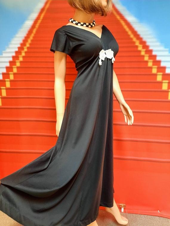 1970s vintage black polyester disco maxi dress - image 1