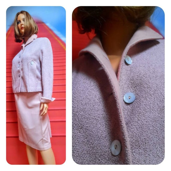 1940s pink wool skirt suit