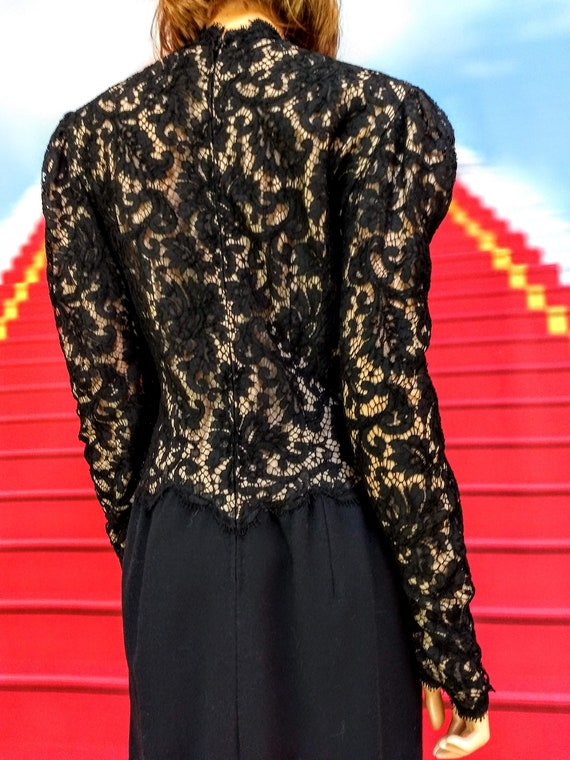 vintage 1980s Pauline Trigere black dress - image 7