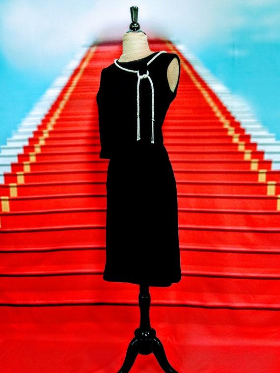 1950s black knit skirt & top set