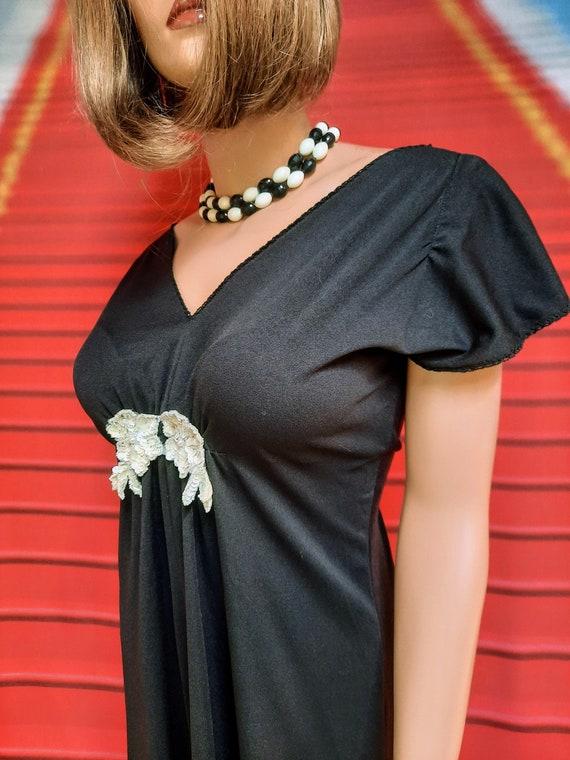 1970s vintage black polyester disco maxi dress - image 4