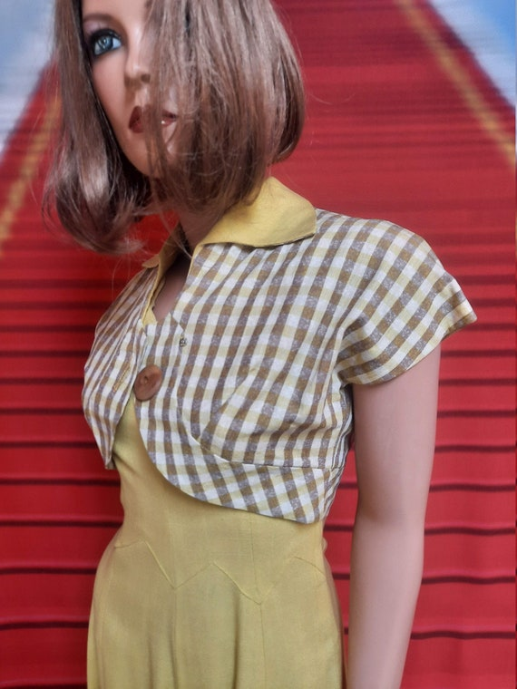 1940s yellow linen dress & bolero jacket by Minx M