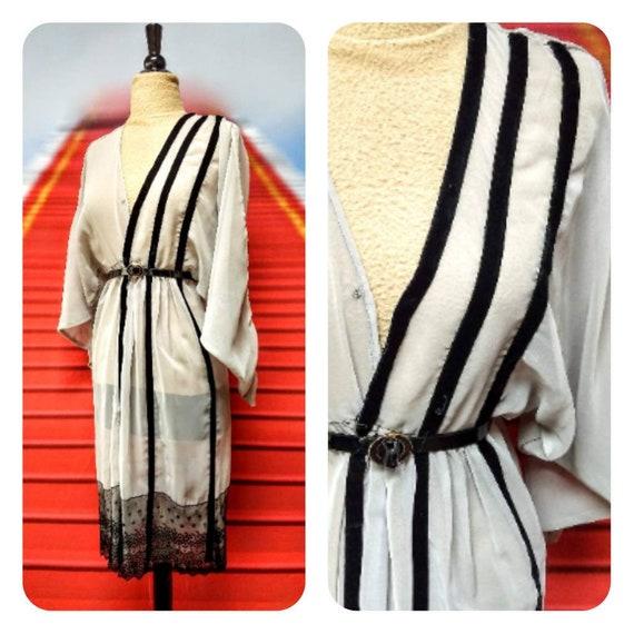Edwardian sheer dress 1910s 20s sheer gray dress
