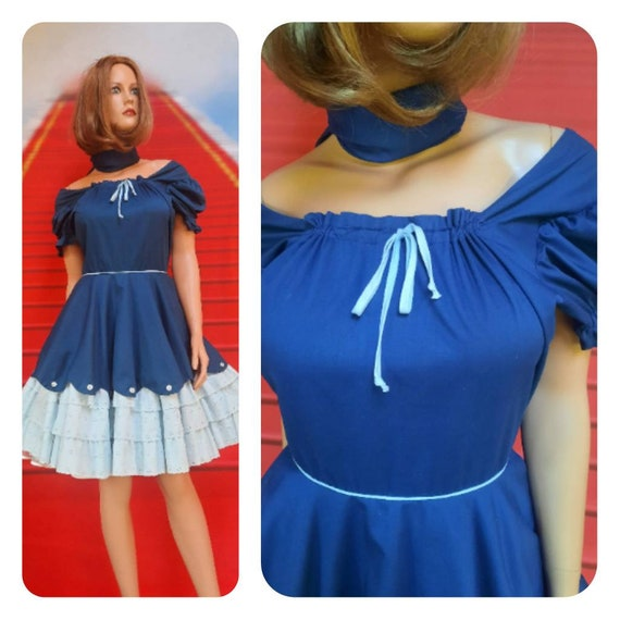 vintage blue swing dress | 1960s circle skirt dres