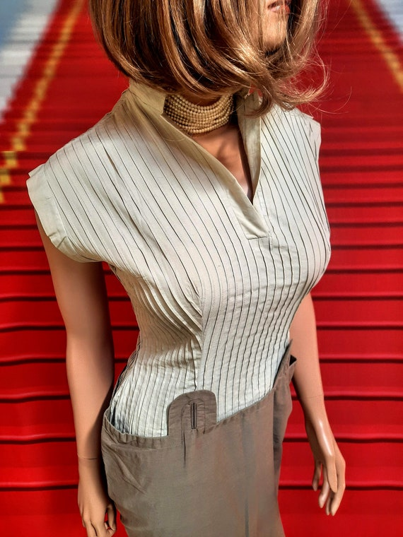 1940s vintage khaki and brown wiggle dress with hi