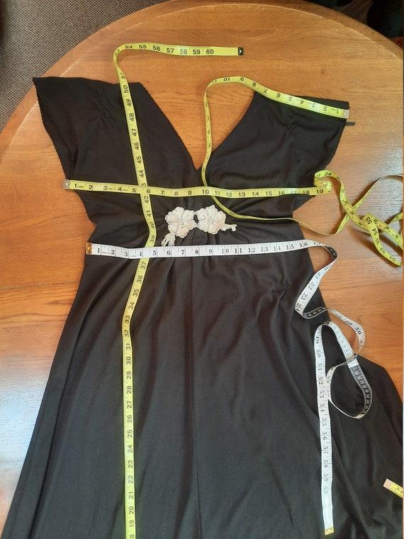 1970s vintage black polyester disco maxi dress - image 10