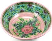 Pink Porcelain Serving Bowl - Large Ceramic Serving Dish with Flower and Pink Rose Design - OOAK