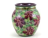 Ceramic Flower Vase - Small Purple Round Ceramic Floral Decorative Vase - One of a Kind