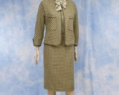 Vintage 50s 1950s Designer Houndstooth Wool Cardigan Jacket Pencil Skirt Suit, XS, Small