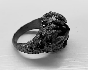 Midnight Dreary Ring - Onyx and Black CZ