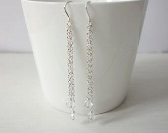 Layered Chains Dangle Earrings Sparkly Glass Beads Minimalist Long Earrings Double Chain Earrings for Women