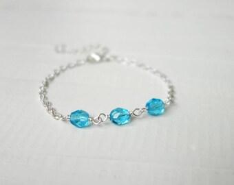 Turquoise beads bracelet small chain bracelet summer style bracelet sparkly turquoise bracelet for women