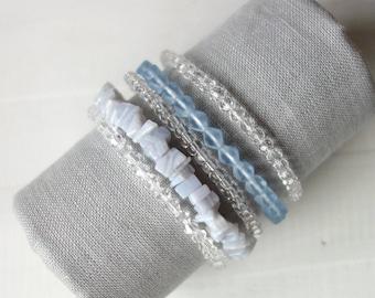 Statement Layered Bracelet Blue Beaded Memory Wire Cuff Bracelet Multi Stranded Beaded Bracelet for Women
