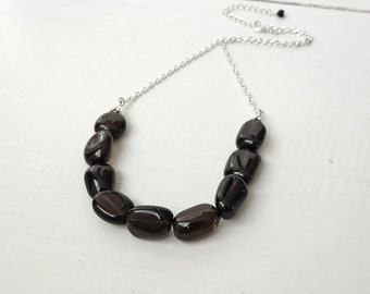 Chunky Smoky Quartz Stones Chain Necklace Large Brown Stones Minimalist Necklace for Women