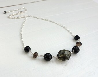 Dainty Chain Necklace Brown Black Stones Beads Elegant Necklace for Women