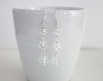 Sparkly Dangle Earrings Three Faceted Glass Beads Minimalist Earrings for Women