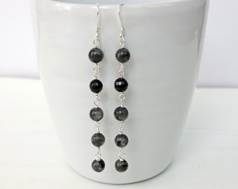 Long Dangle Earrings Labradorite Onyx Stones Elegant Long Earrings for Women