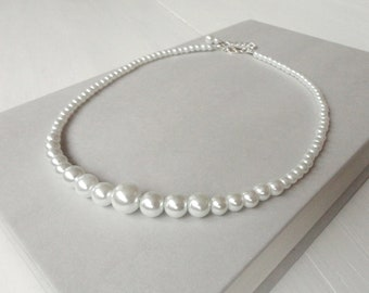 Beaded Choker Necklace Pearly White Glass Beads Short Collar Necklace for Women