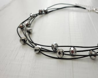 Statement Choker Necklace Layered Leather Choker Silver Glass Beads Rocker Leather Choker Necklace for Women