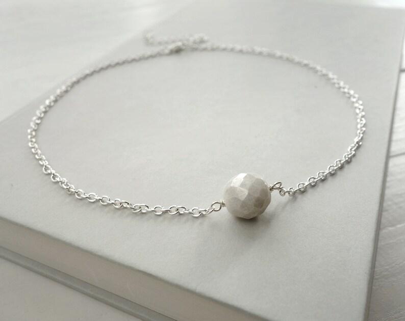 7e29836603 Minimalist chain choker white bead choker necklace minimalist | Etsy