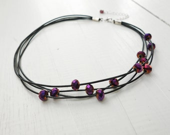 Statement Leather Choker Purple Glass Beads Layered Statement Necklace Black Leather Cord Choker Necklace for Women