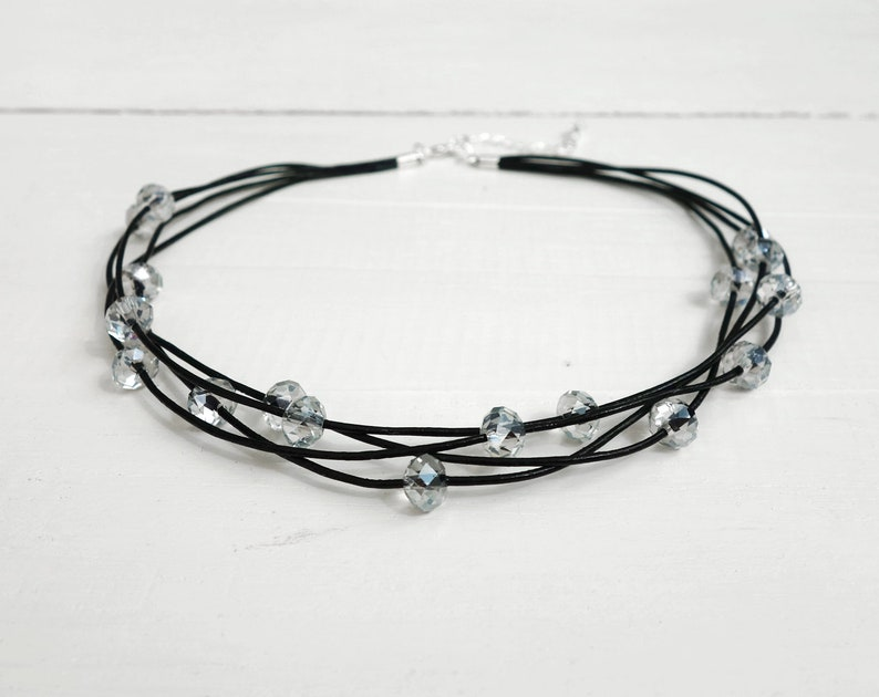 642541a8182bc Statement choker necklace sparkly beads choker layered leather choker black  leather necklace for women