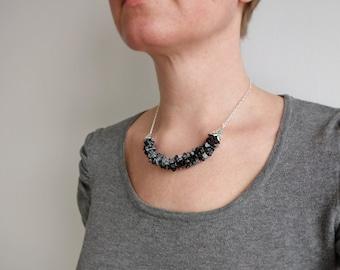 Stone Bib Necklace Black Gray Obsidian Stones Minimalist Bib Necklace for Women