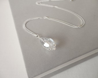 Silver Chain Necklace Sparkly Drop Pendant Minimalist Silver Necklace for Women