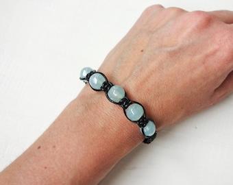 Braided Leather Bracelet Sea Green Glass Beads Black Leather Macrame Cuff Bracelet for Women