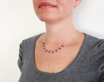 Hematite Stone Necklace Dainty Chain Gray Stone Necklace Minimalist Chain Necklace for Women
