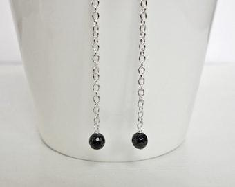 Long Dangle Earrings Black Onyx Stones Long Chain Earrings Minimalist Long Earrings for Women