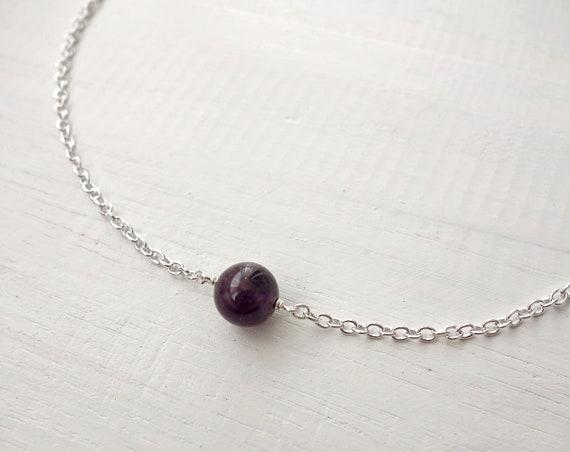 Amethyst choker necklace Amethyst chain necklace Amethyst chain choker Dainty necklace Amethyst jewelry Minimalist necklace Amethyst stone