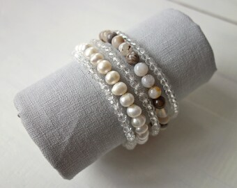 Layered Statement Bracelet White Freshwater Pearls Agate Stones Bracelet Multi Stranded Memory Wire Bracelet White Cuff Bracelet for Women