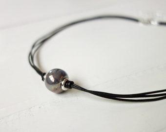 Leather Choker Necklace Grey Ceramic Bead Metal Discs Minimalist Black Leather Choker for Women