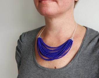 Blue Bib Necklace Layered Seed Beads Statement Necklace Multi Stranded Beaded Necklace for Women