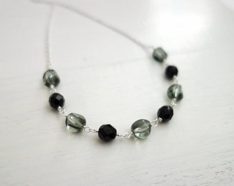 Short Chain Necklace Black Grey Glass Beads Minimalist Necklace for Women