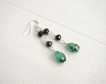 Long Dangle Earrings Faceted Green Drop Bead Long Earrings for Women