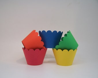 15 Primary Color Cupcake Wrappers Carnival, Circus, Sesame Street, Artist Party